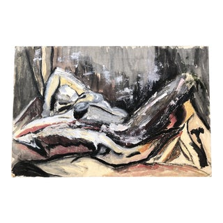 Original Modernist Abstract Female Nude Painting 1960's For Sale