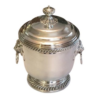 Large Silver Lidded Ice Bucket & Cooler With Lions Head Handles - Vintage 1960's-1970's