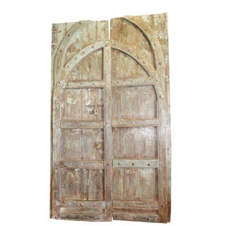 Antique Indian Green Brown Hand Carved Haveli Double Doors For Sale