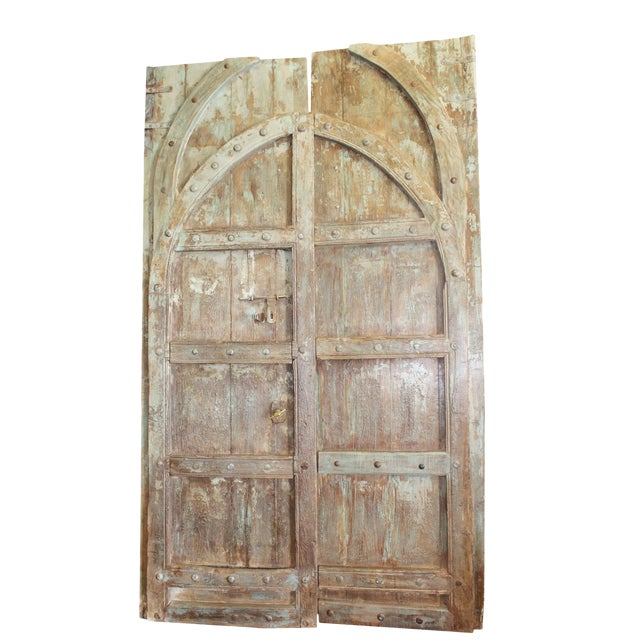 Antique Indian Green Brown Hand Carved Haveli Double Doors For Sale - Antique Indian Green Brown Hand Carved Haveli Double Doors Chairish