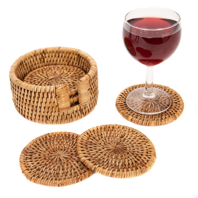 Artifacts Rattan 6-Piece Round Coaster Set With Box For Sale - Image 4 of 5