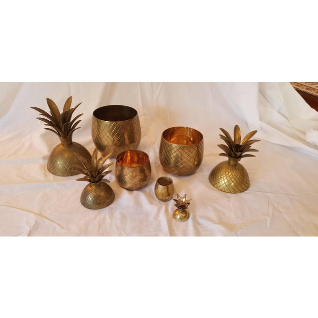 1970s Vintage Brass Pineapples - Set of 4 For Sale In Austin - Image 6 of 8