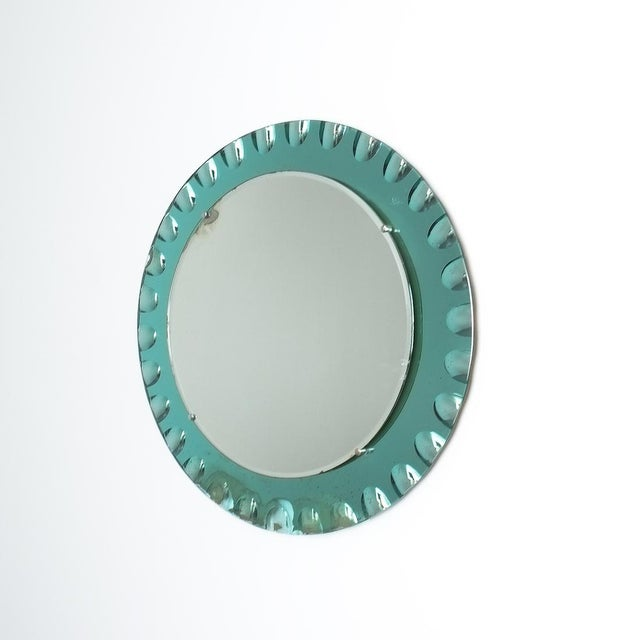 Green Fontana Arte Attributed Wall Mirror Green Glass, Midcentury Italy For Sale - Image 8 of 8