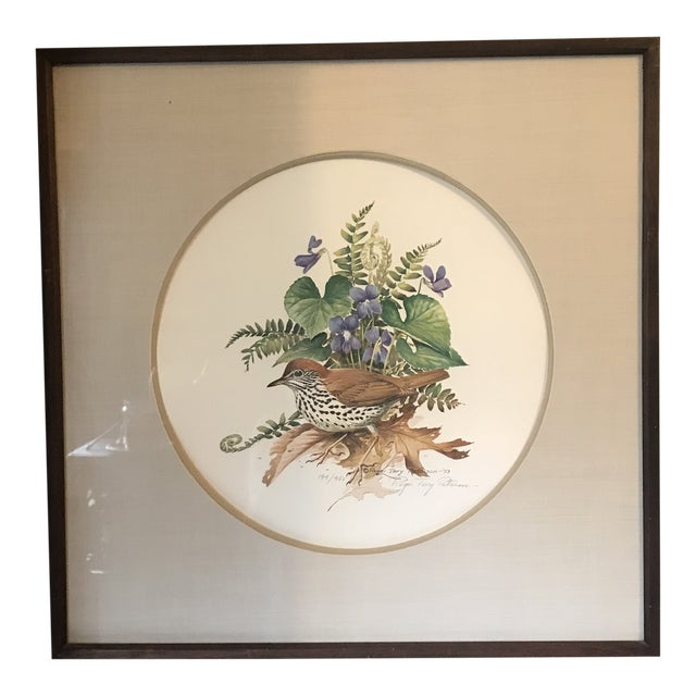 Signed Print Roger Tory Peterson Brown Thrasher 144/450 Audubon 1973 For Sale
