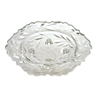 Cut-Crystal Oval Footed Bowl For Sale