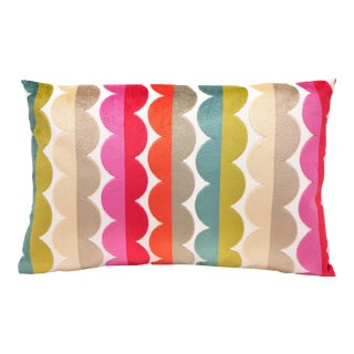 """Piper Collection Multi-Colored Scalloped Velvet """"Grace"""" Pillow For Sale"""