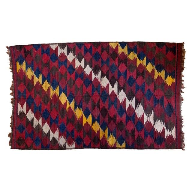 "Vintage Kilim Carpet - 6'4"" X 9'10"" - Image 1 of 6"