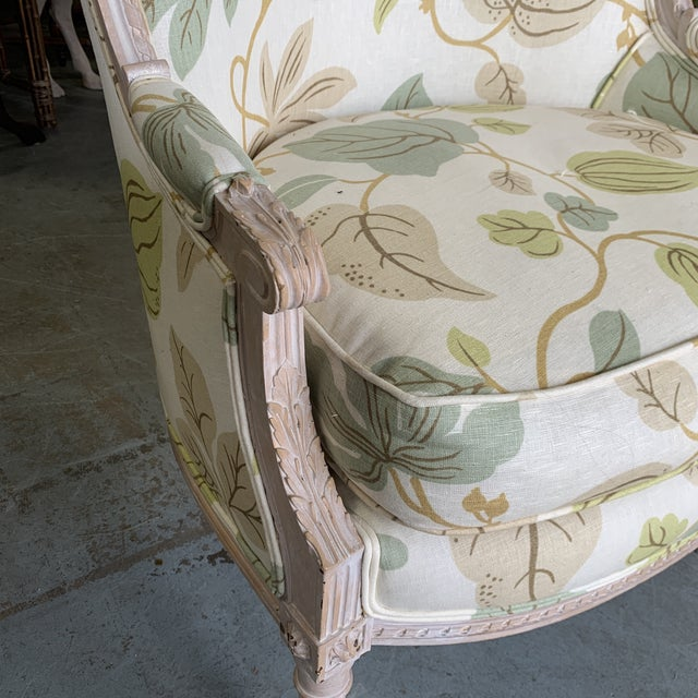 2000 - 2009 Upholstered Bergere Chairs - a Pair For Sale - Image 5 of 10