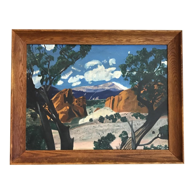 Mid-Century Framed Mountain Landscape Painting, 1953 - Image 1 of 6