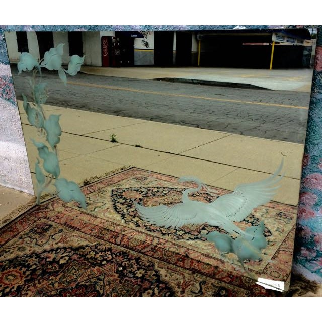 Antique Art Deco Etched Wall Mirror - Image 7 of 11