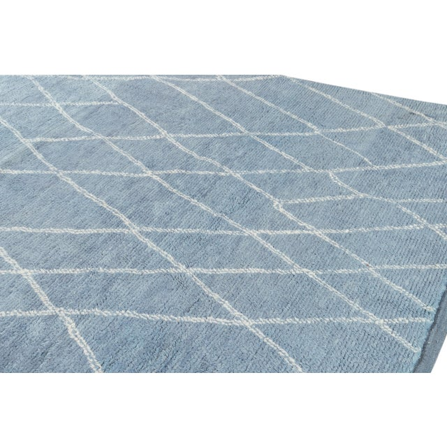 """Textile Blue Moroccan Rug, 9'4"""" X 11'9"""" For Sale - Image 7 of 8"""