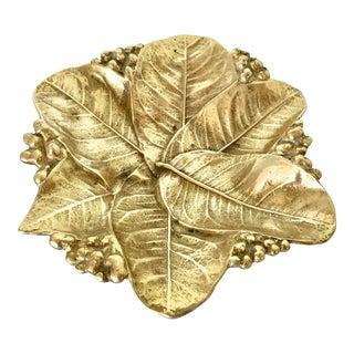 Brass Lemon Leaf Dish Va. Metalcrafters For Sale
