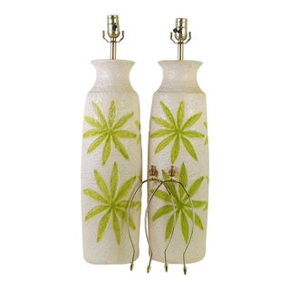 Mid-Century Tropical 1960s Table Lamps With Green Flowers / Leaves Made in Odessa Florida - A Pair For Sale