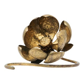 Gilt Metal Lotus Flower Sculpture by Mingazzi, Italy, 1950 For Sale