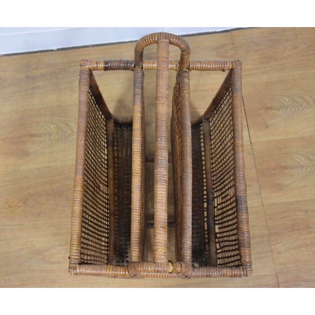 Wood Bamboo & Rattan Magazine Rack For Sale - Image 7 of 8