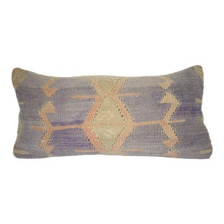 Vintage Lumbar Kilim Pillow Cover, Ethnic House Decor, Traditional Cushion Cover 12'' X 24'' (30 X 60 Cm) For Sale