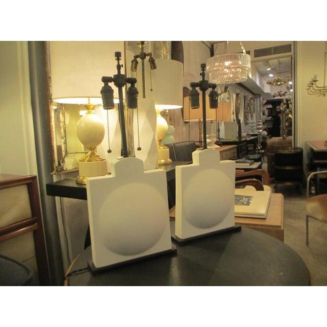 Pair of modern sculptural plaster lamps.