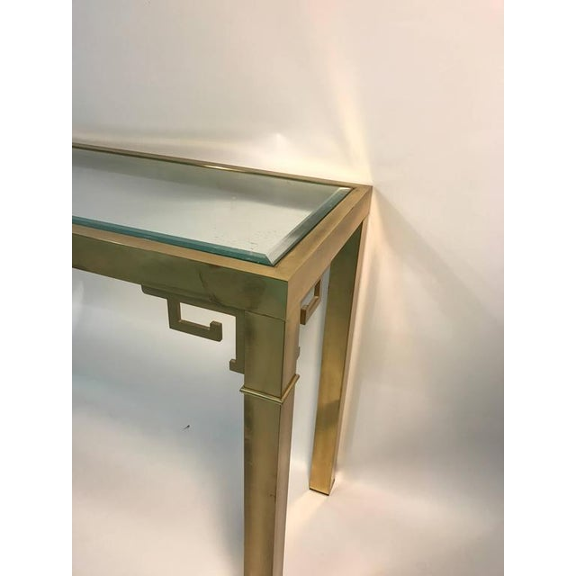ELEGANT ITALIAN SOLID BRASS CONSOLE TABLE WITH GREEK KEY DESIGN For Sale In Philadelphia - Image 6 of 10