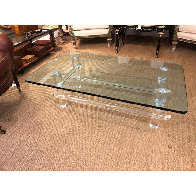 Lucite and Glass Coffee Table in the Style of Parzinger For Sale In Philadelphia - Image 6 of 9