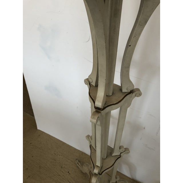 Wood French Painted Ivory and Gilded Plant Stands -A Pair For Sale - Image 7 of 10