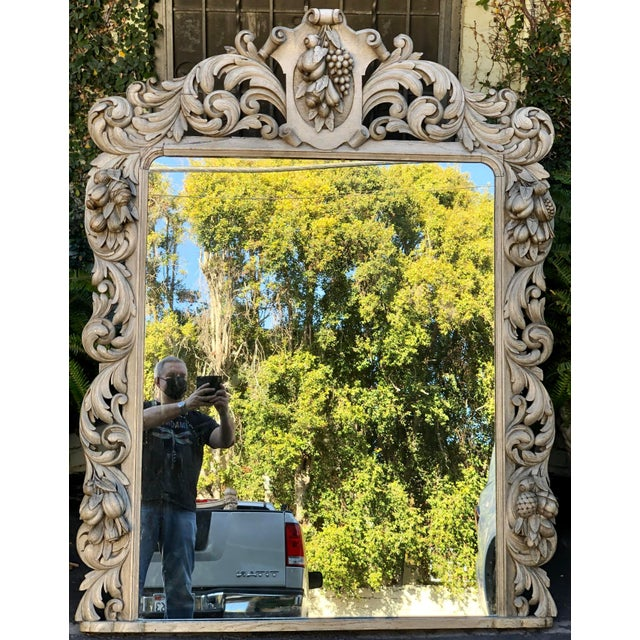 Huge Antique Early 19c Baroque Carved Bleached Oak Mirror For Sale - Image 4 of 5
