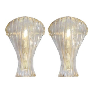 Italian Gold Shield Sconces by Mazzega - A Pair For Sale
