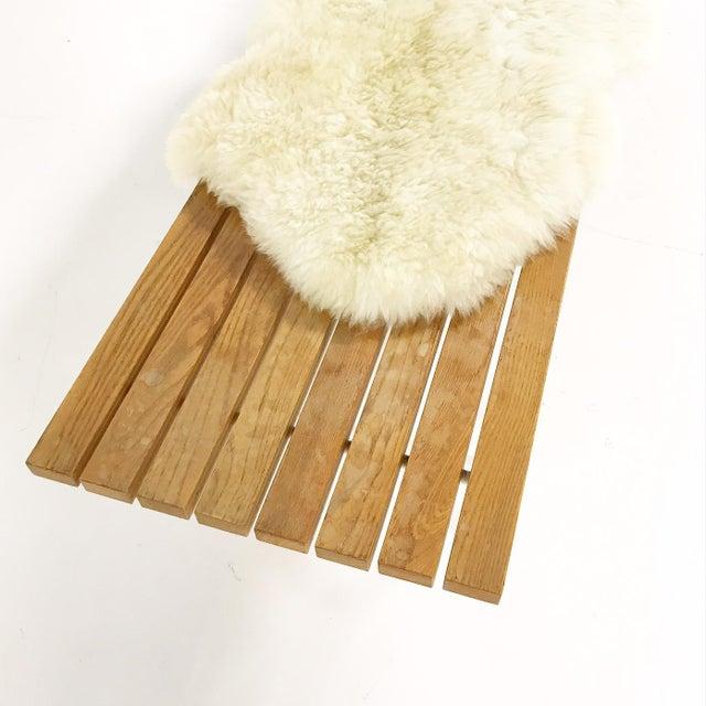 Harry Bertoia Harry Bertoia for Knoll Slat Bench With Brazilian Sheepskin For Sale - Image 4 of 8