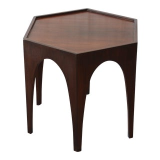 Harvey Probber Mid-Century Modern Walnut Hexagonal Side Table