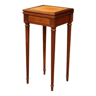 French Louis XVI Carved Walnut Folding Top Game Table With Tan Leather Surface For Sale