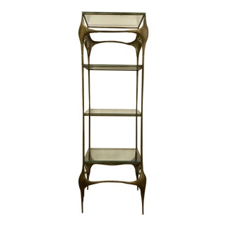 Mid-Century Modern Brutalist Hand Forged Sculptural Antique Brass Finished Etagere For Sale