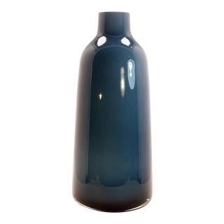Mid-Century Modern Murano Blue White Cased Glass Vase For Sale