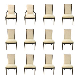 Black and Gold Hickory White Regency Style Dining Chairs Set of 12 For Sale