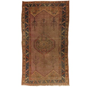 """Distressed Antique Persian Malayer Camel Hair Rug. 3'x 5'5"""" For Sale"""