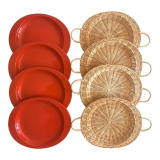 Vintage Mid Century Modern Orange Enamel Oval Metal Plates & Hand Woven Rattan Plate Holders - Set of 8 For Sale