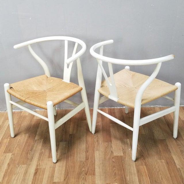 White Mid-Century Danish Hans Wegner Wishbone Chairs - A Pair For Sale - Image 8 of 13