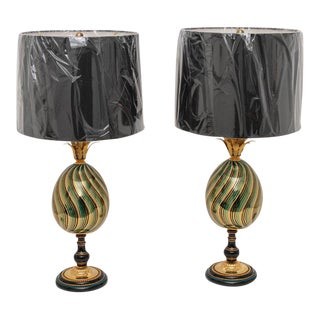 Enameled Porcelain Maison Jansen Table Lamps - a Pair For Sale