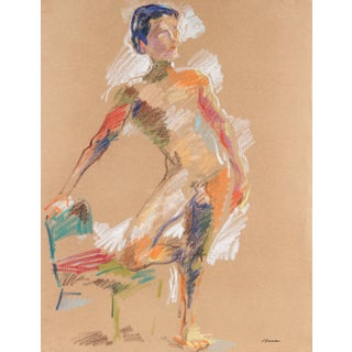 Colorful Abstract Figure Drawing in Pastel on Paper, September 23, 1983 For Sale