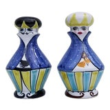 Image of 1970s Vintage Italian Hand Painted Ceramic Salt and Pepper Shakers - A Pair For Sale