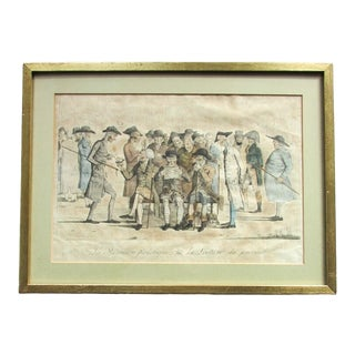 Early 19th Century Antique Aaron Martinet French Political Satire Hand-Colored Etching Print For Sale