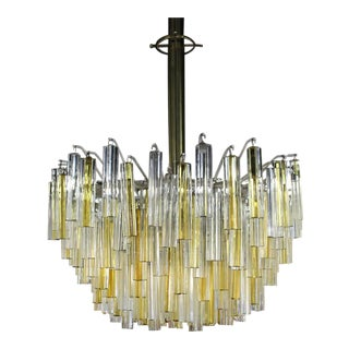 Large Two Tone Gold Yellow and Clear Camer Light Fixture For Sale