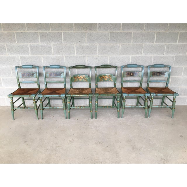 Vintage L. Hitchcock Slat Back & Crown Back Rush Bottom Side Chairs - Set of 6 For Sale - Image 11 of 11