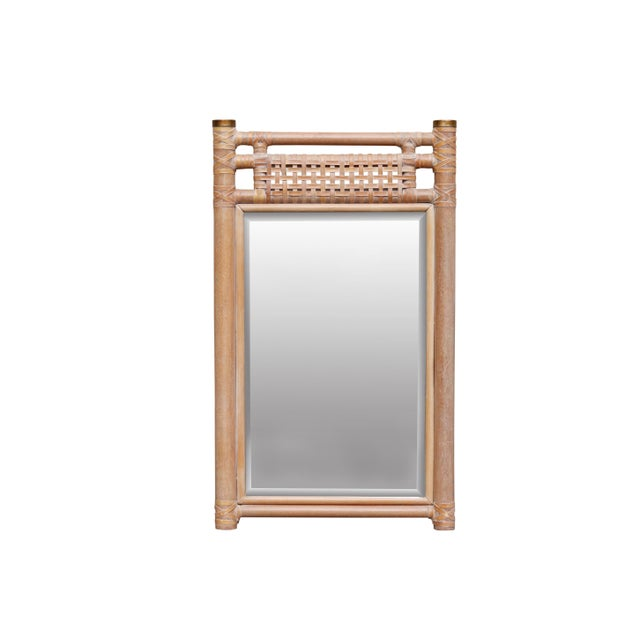 Metal Leather Bound Oak Beveled Wall Mirror For Sale - Image 7 of 7