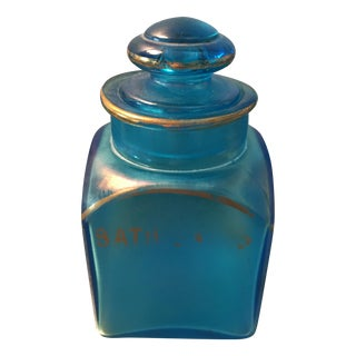 Vintage Iridescent Blue Aged Glass Bottles - S/4