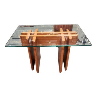 1970's Gustav Gaarde Danish Mid Century Modern Teak Trestle Base/Beveled Edge Glass Top End Table For Sale