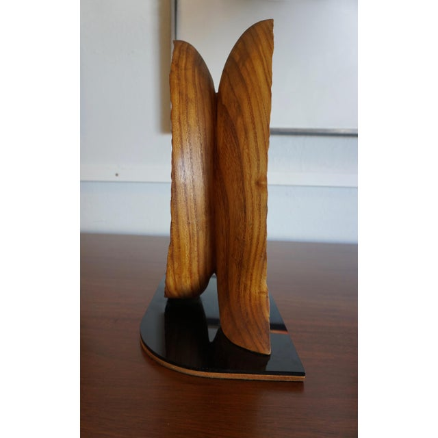 "1960s Organic Abstract Oak Wood Sculpture Signed ""Paltridge"" 77 For Sale - Image 5 of 7"