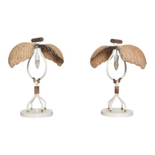Mario Torres Lopez Mid Century Wicker Lamps - a Pair For Sale