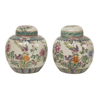 Floral Ginger Jars, Pair