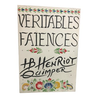"Vintage French Hand-Painted ""Quimper"" Sign For Sale"
