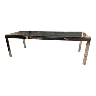 Mid Century Modern Milo Baughman Style Chrome Glass Coffee Table For Sale