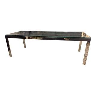 Mid Century Modern Milo Baughman Style Chrome Glass Coffee Table For Sale